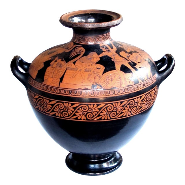 A Rare and Large-Scaled Italian Terracotta Glazed Stamnos Vase/Jar by Listed Ceramicist Giovanni Mollica, C. 1850 For Sale