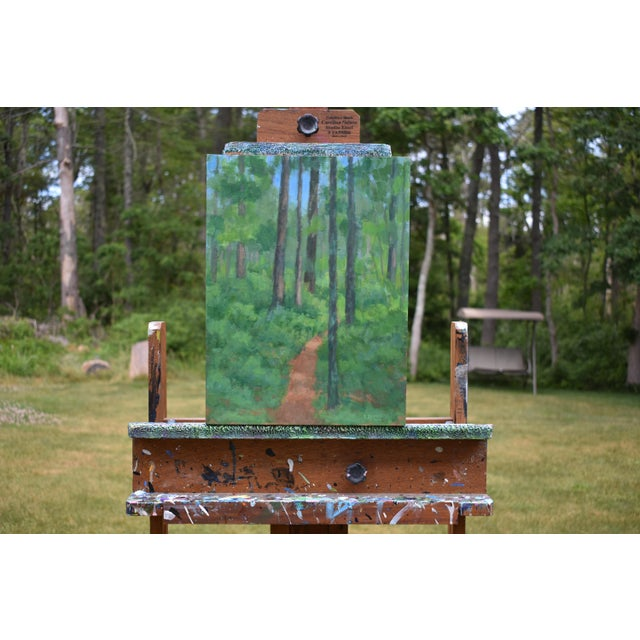 """Titled """"Back Yard Path"""". A small relative to a larger, 48"""" x 36"""" painting of the same area titled """"At the Edge of the..."""