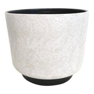 Vintage Mid-Century White Ceramic Textured Glaze Planter For Sale