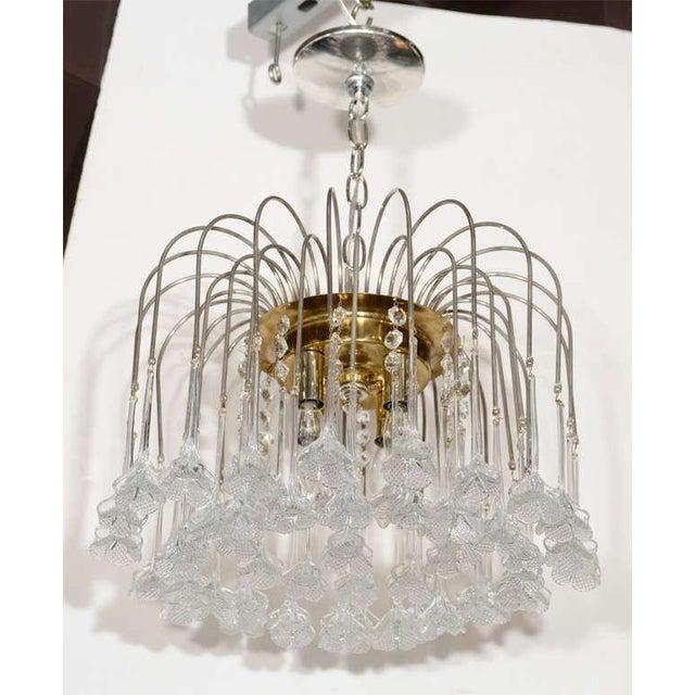 Mid Century Murano Two Tier Handblown Murano Glass Floral Pendant Chandelier - Image 2 of 8