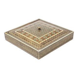 Middle Eastern Moorish Sadeli Micro Mosaic Inlaid Jewelry Box For Sale