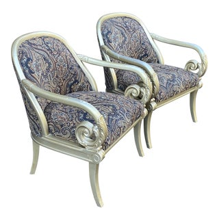 Weiman Carved Scrolled Arm Lounge Chairs - a Pair For Sale