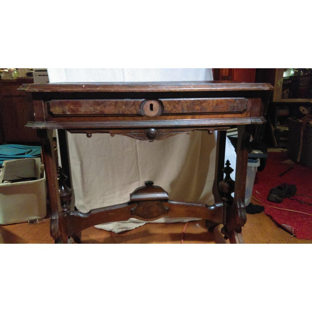 Antique Writing Desk With Stretched Leather Top - Image 3 of 11