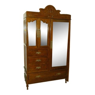 Vintage Mirrored Wardrobe Circa 1900's For Sale