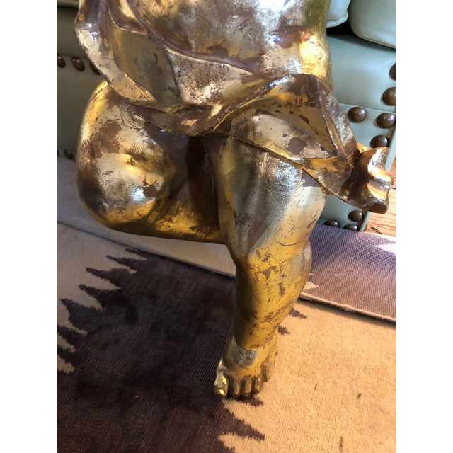 Rococo Decorative Gilded Cherub Sculptures - a Pair For Sale - Image 4 of 11