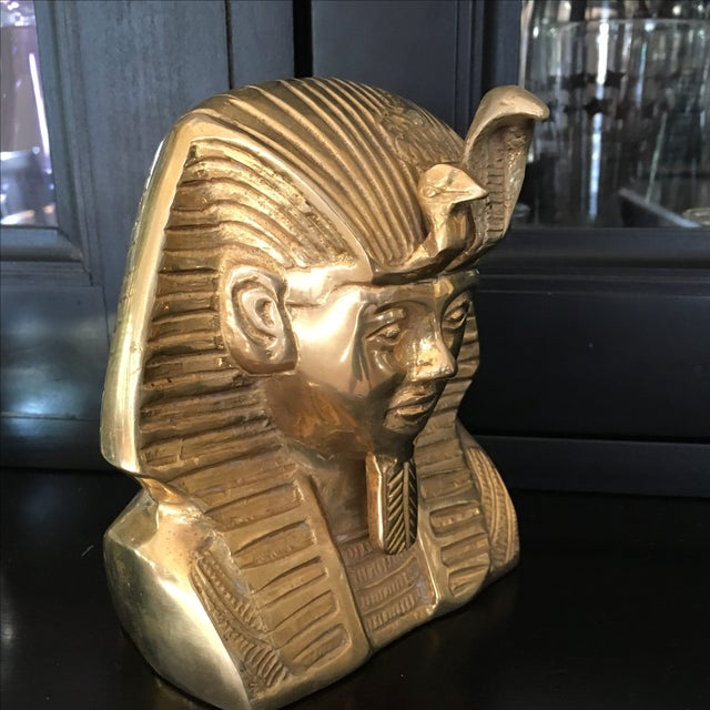 Vintage Solid Brass Egyptian Bust of King Tut For Sale - Image 5 of 8