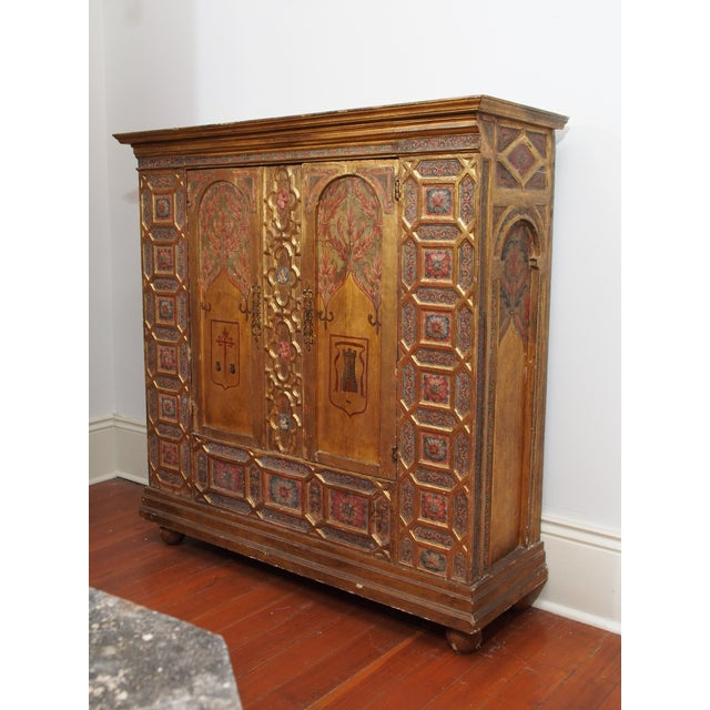 Gothic Italian Polychrome Two Door Cabinet For Sale - Image 3 of 11