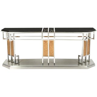 1980s Art Deco Lorin Marsh Mixed Metal and Mixed Stone Console Table For Sale