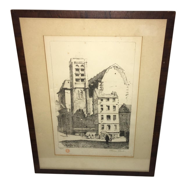 Early 20th Century Antique European Town Scene Lithograph Print For Sale
