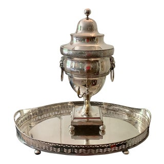 Antique English Regency Sheffield Tea Urn/Samovar With Tray - 2 Pieces For Sale
