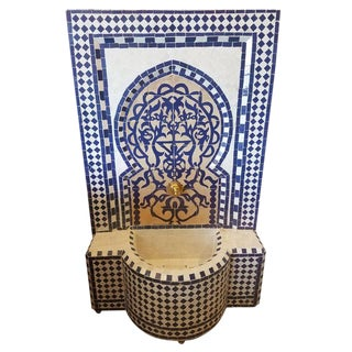 "Modern Navy Blue Moroccan Mosaic ""Tree of Life"" Fountain For Sale"