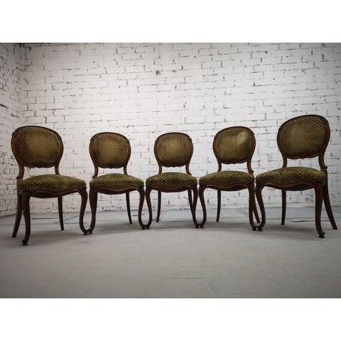 Set of 5 Vintage French Louis XV Style Carved Oak Balloon Back Dining Side Chairs For Sale - Image 11 of 13