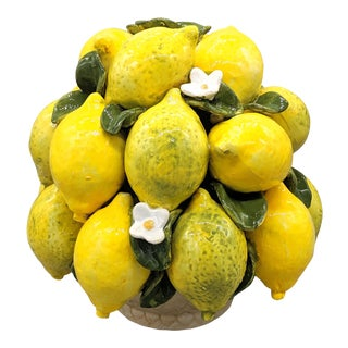 20th Century Italian Majolica Lemon Fruit Topiary For Sale