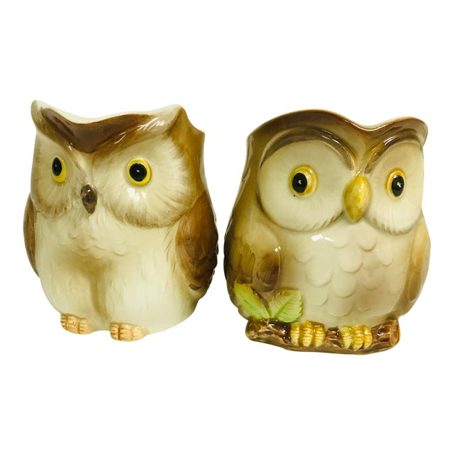 1980s Vintage Otagiri Small Owl Syrup Creamer Pitchers - a Pair For Sale