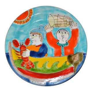 Italian Desimone Hand Painted Art Pottery Round Decor Plate With Lobster Fishing For Sale
