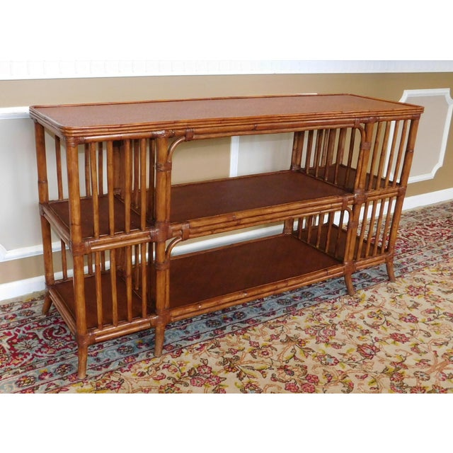 Asian Ethan Allen Rattan Media Console Sofa Table For Sale - Image 3 of 9