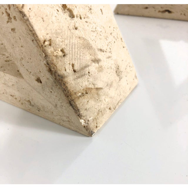 1960s Fratelli Mannelli for Raymor Triangle Travertine Bookends - a Pair For Sale - Image 9 of 10