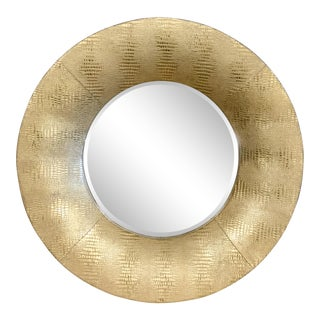 Bauhaus Reptile Gold Faux Leather Mirror For Sale