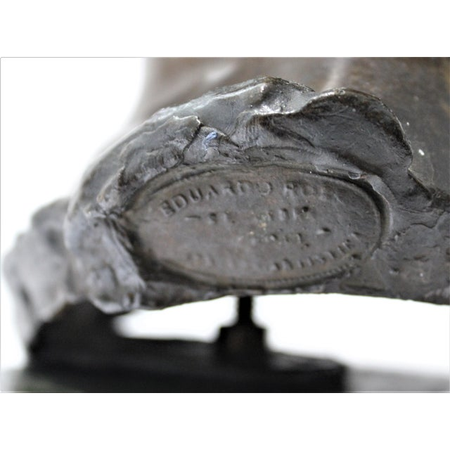 Metal Antique Edouard Rossi of Naples.Bronze Sculpture of a Young Girl For Sale - Image 7 of 13