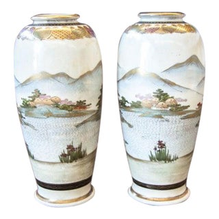 1915s Japanese Satsuma Vases-a Pair For Sale