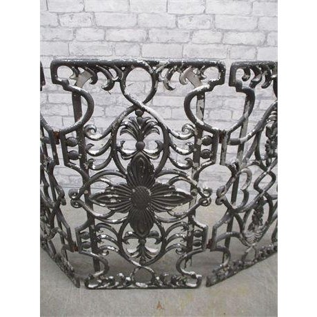 Art Deco Early 20th Century Antique Cast Iron Fireplace Screen For Sale - Image 3 of 5