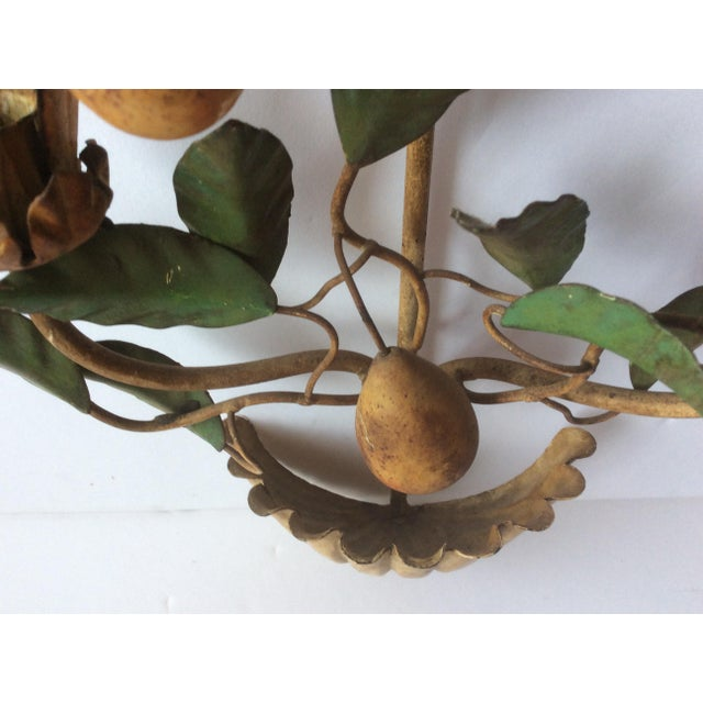 Painted Tole Wall Sconce With Alabaster Pears For Sale - Image 4 of 7