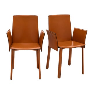 Vintage Modernist Orange Leather Armchairs - a Pair For Sale