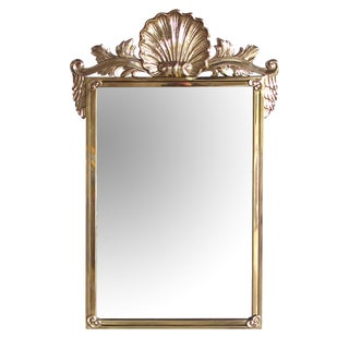 A Good Quality Italian Hollywood Regency Solid Brass Mirror With Over-Scaled Shell Crest by Decorative Crafts, Inc. Est. 1928 For Sale