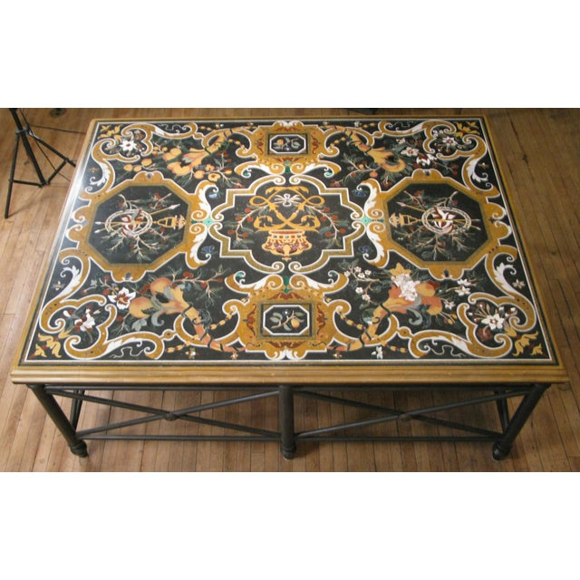 Arts & Crafts Italian Pietra Dura Inlaid Stone Table For Sale - Image 3 of 9