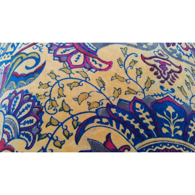 Boho Chic Vibrant Golden Yellow Velvet Pillows - A Pair For Sale - Image 3 of 5