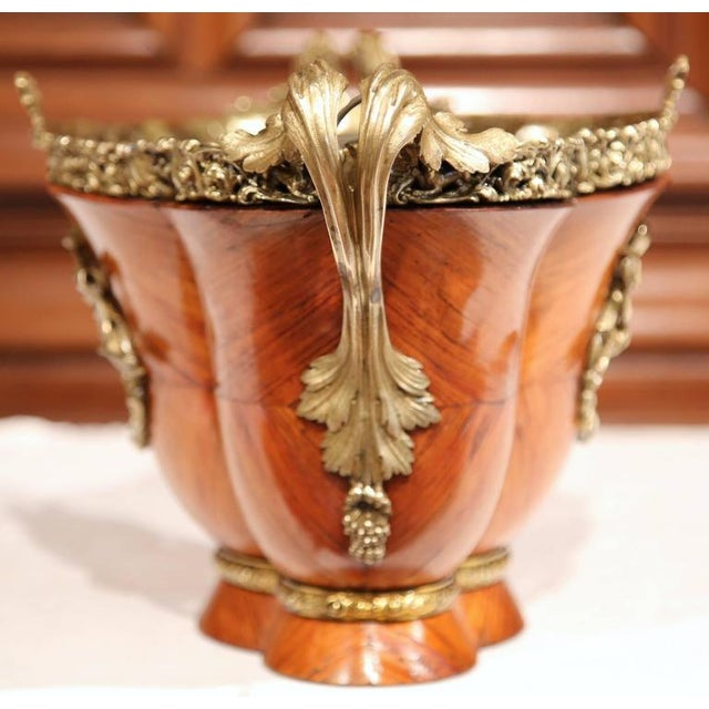 Bronze Early 19th Century French Tulipwood & Bronze Jardiniere For Sale - Image 7 of 10