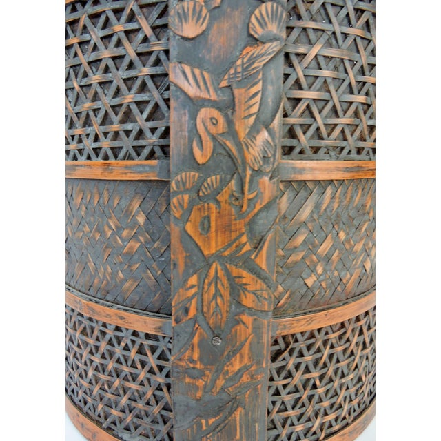 Late 20th Century Vintage Woven Split Bamboo Carved Chinese Wedding Basket or Container For Sale - Image 5 of 7