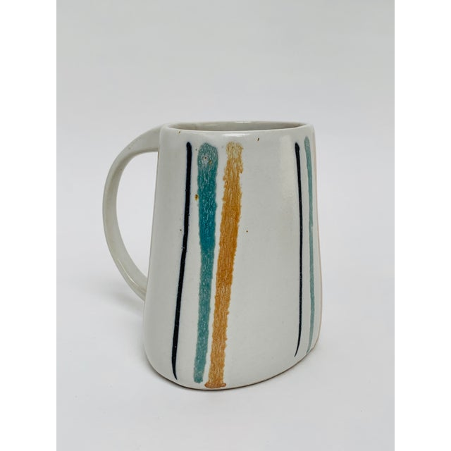 1960s Mid Century Modern Striped Oval Stoneware Mug From Bennington Potters For Sale - Image 13 of 13