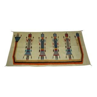 Vintage Figural Navajo Yei Rug Wall Hanging For Sale