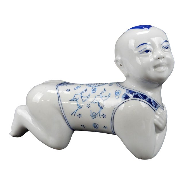 Chinese Blue & White Porcelain Pillow Figurine For Sale