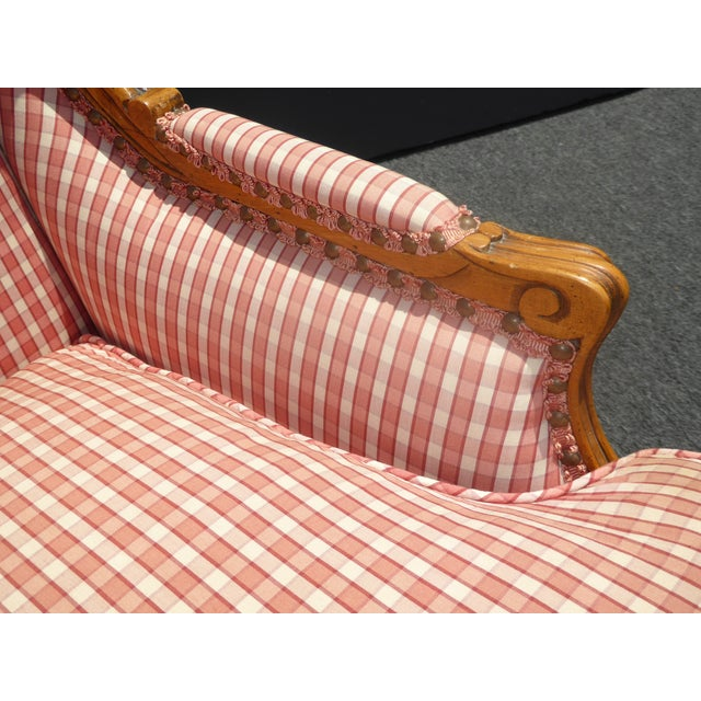 Vintage French Country Farmhouse Chic Red & White Plaid Wingback Chair - Image 11 of 11