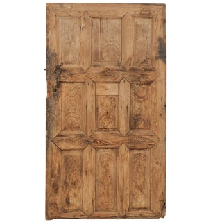 19th Century European Rustic Wood Door with Delicate Carved Pattern For Sale