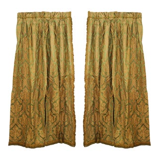 Green and Gold Silk Damask Drapes For Sale