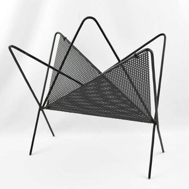 Mathieu Matégot Mathieu Mategot Iconic Butterfly Magazine Holder Rack Black Perforated Metal For Sale - Image 4 of 11