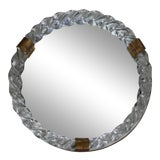 Image of 1940s/50s Venini Style Italian Murano Glass and Bronze Wall Round Mirror For Sale