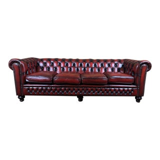 Vintage Mid-Century English Leather Chesterfield 4 Seat Sofa, Oxblood For Sale