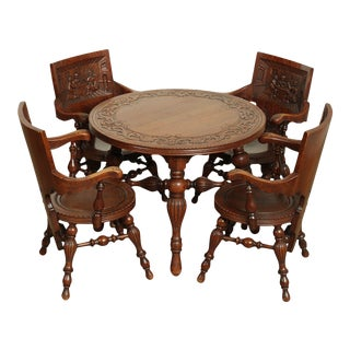 Antique Victorian Oak German Renaissance Round Games Table With 4 Carved Monks PUB Chairs Set For Sale
