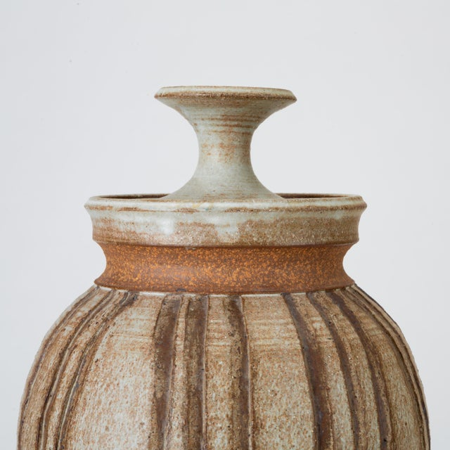Ceramic California Modern Incised Studio Pottery Vessel With Lid by Don Jennings For Sale - Image 7 of 13