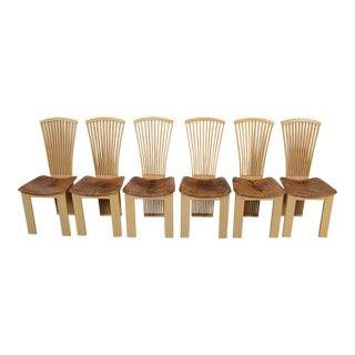 1980s Vintage Pietro Constantini Italian Leather Dining Chairs- Set of 6 For Sale