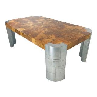 Paul Evans Burl Wood/Chrome Dining Table For Sale