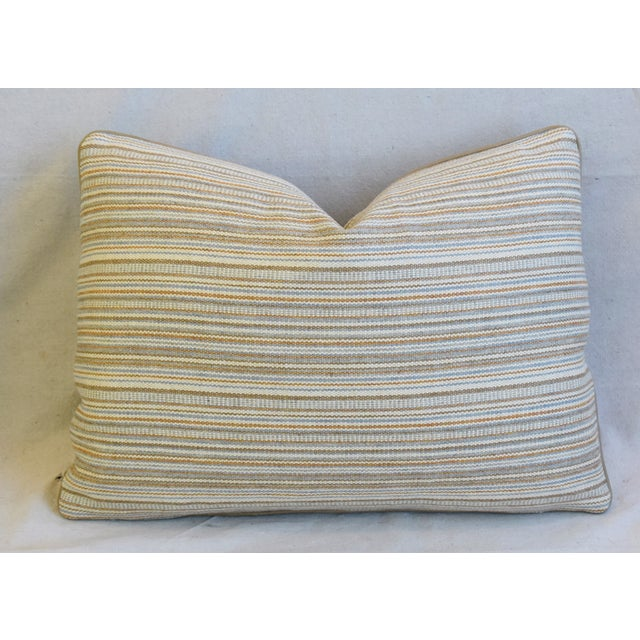 """Early 21st Century Scottish Hodsoll McKenzie Wool Stripe & Scalamandre Velvet Feather/Down Pillows 22"""" X 16"""" - Pair For Sale - Image 5 of 12"""