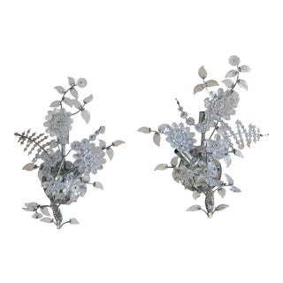 1920's Crystal Floral Italian Sconces - a Pair