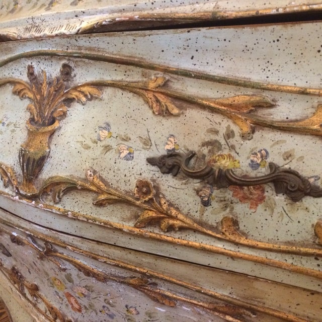 French Rococo Painted & Parcel Gilt Commode - Image 7 of 10