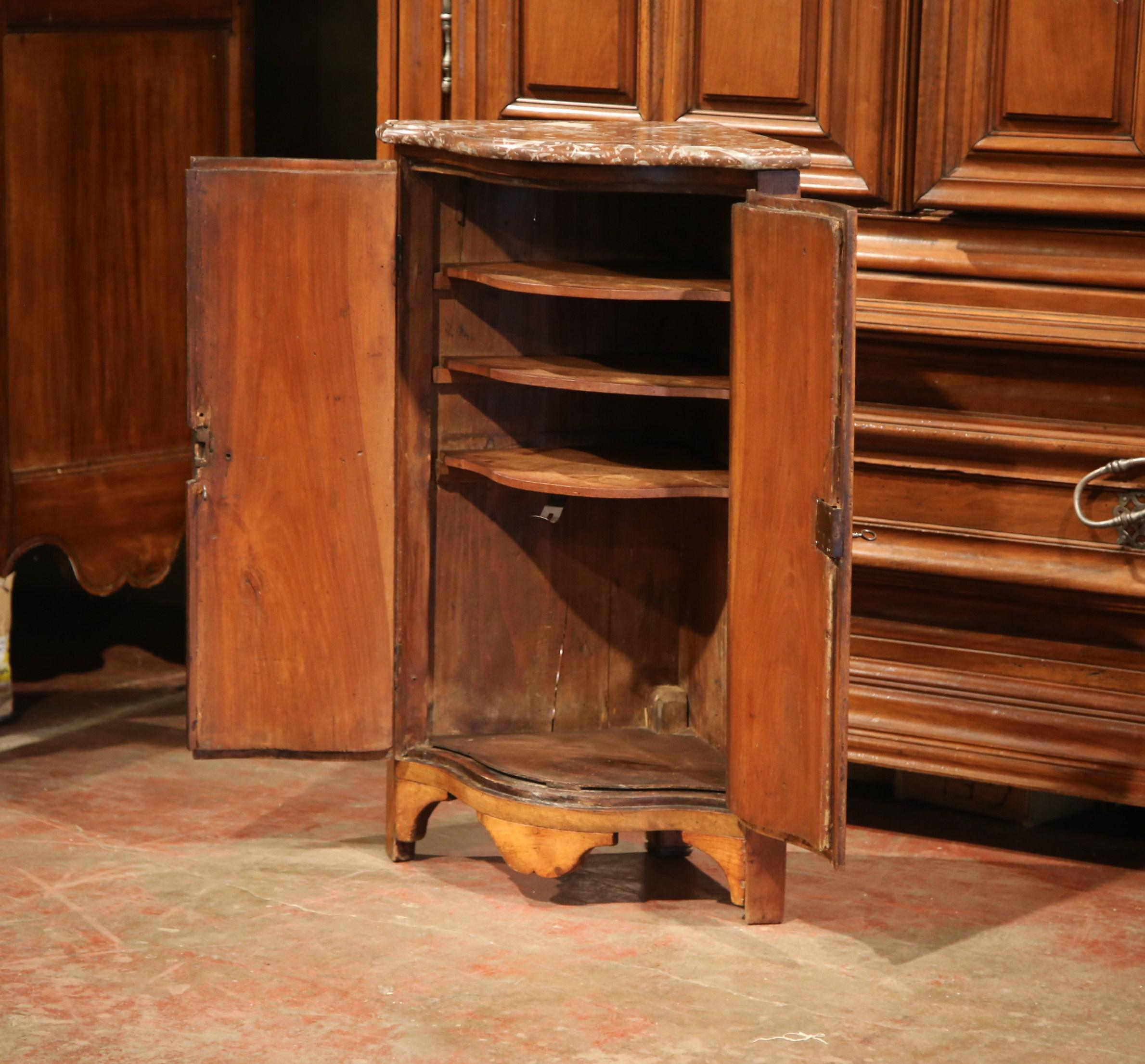 18th Century French Louis XV Walnut Corner Cabinet With Bow Front And  Marble Top   Image