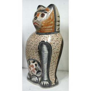Huge Tonala Mexico Pottery Cat With Hand-Painted Folk Art Preview